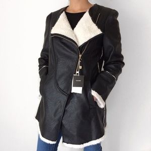 NWT Black Leather Vogue Fur Jacket